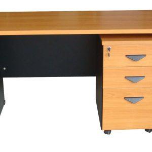 RDTBN-1504โต๊ะทำงาน + ตู้เอกสารมีล้อหน้าโต๊ะเคลือบเมลามีน